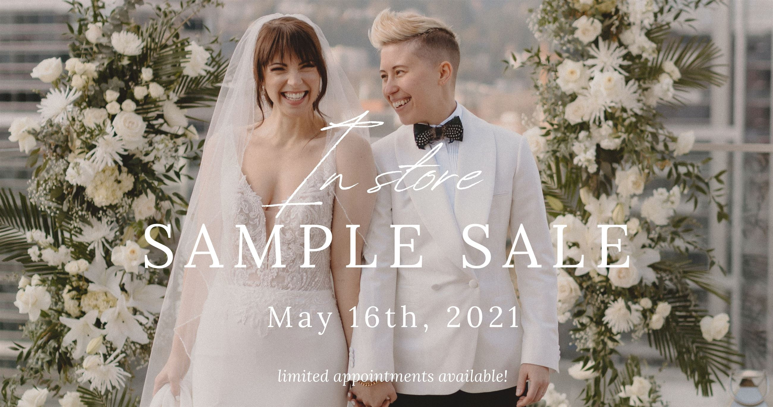 In Store Sample Sale May 16th 2021 at Charlotte's Weddings in Portland, Oregon